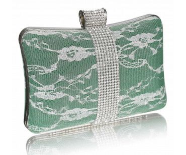 Psaníčko - Green Crystal Strip Clutch Evening Bag