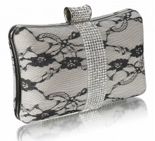 Psaníčko - Ivory Crystal Strip Clutch Evening Bag