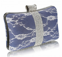Psaníčko - Navy Crystal Strip Clutch Evening Bag