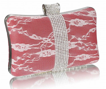 Psaníčko - Red Crystal Strip Clutch Evening Bag