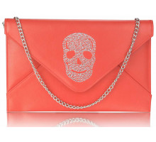 Psaníčko Red Skull Flapover Clutch Purse