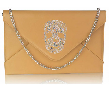 Psaníčko Tan Skull Flapover Clutch Purse