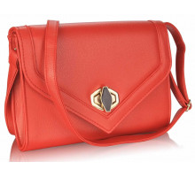 Psaníčko Red Flapover Twist-  Lock Clutch Purse