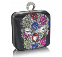 Psaníčko - Navy Diamante Skull Clutch Purse