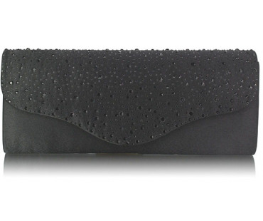 Psaníčko Black Diamante Design Clutch Bag - černé