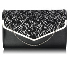 Psaníčko Black / Silver Large Diamante Flap Clutch purse