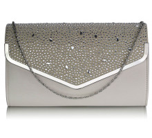 Psaníčko -  Nude Large Diamante Flap Clutch purse