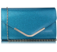 Psaníčko  Teal Large Flap Clutch purse - modré