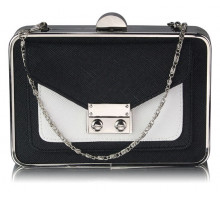 Psaníčko - Black / White Hardcase Clutch Bag With Long Chain