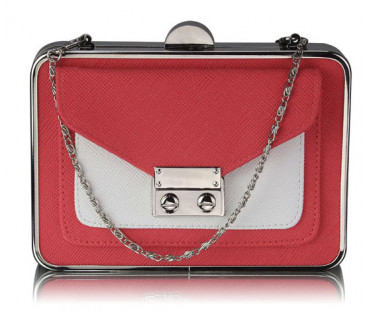 Psaníčko - Coral / White Hardcase Clutch Bag With Long Chain