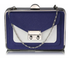 Psaníčko - Navy / White Hardcase Clutch Bag With Long Chain