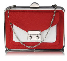 Psaníčko - Red / White Hardcase Clutch Bag With Long Chain