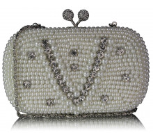 Psaníčko - Ivory Vintage Pearl & Crystal Evening Cluth Bag
