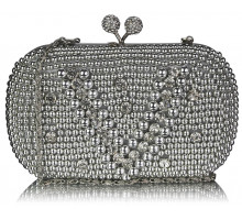 Psaníčko Silver Vintage Pearl & Crystal Evening Cluth Bag - střibrné