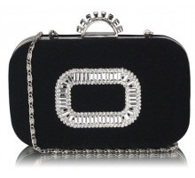 Psaníčko Black Sparkly Crystal Satin Evening Bag - černé