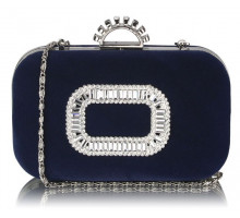 Psaníčko Navy Sparkly Crystal Satin Evening Bag - modré