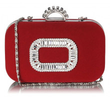 Psaníčko Red Sparkly Crystal Satin Evening Bag - červené