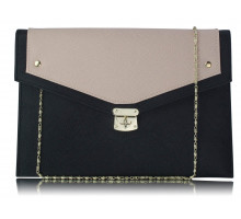 Psaníčko Black / Nude Large Flap Clutch purse