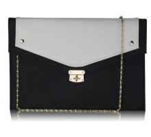 Psaníčko -  Black/ White Large Flap Clutch purse