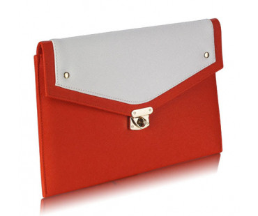 Psaníčko Orange / White Large Flap Clutch purse