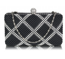 Psaníčko Black Beaded Crystal Cluth Bag