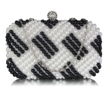 Psaníčko Black / White Beaded Pearl Rhinestone Clutch Bag