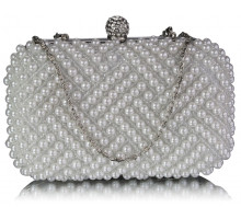Psaníčko White Beaded Pearl Rhinestone Clutch Bag