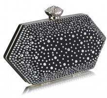 Psaníčko Black / Silver Rhinestone Studded Hard Box Bridal clutch bag