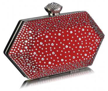 Psaníčko Red Rhinestone Studded Hard Box Bridal clutch bag - červené