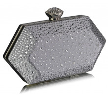 Psaníčko- Silver  Rhinestone Studded Hard Box Bridal clutch bag