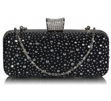 Psaníčko Black / Silver Sparkly Crystal Satin Evening Bag - černé
