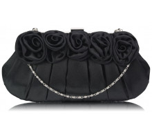 Psaníčko- Black Flower Design Satin Evening Bag