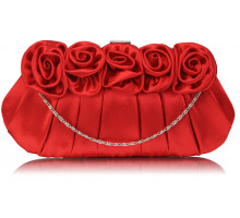 Psaníčko - Red Flower Design Satin Evening Bag