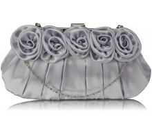 Psaníčko Silver Flower Design Satin Evening Bag