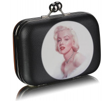 Psaníčko Marylin Monroe Brown Hard Case Clutch Bag