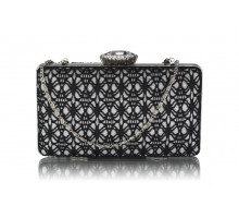 Psaníčko Black / Silver Satin Evening Clutch Bag - černé