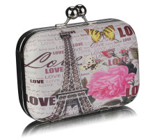 Psaníčko Black Hard Case Clutch Bag With Kiss Lock