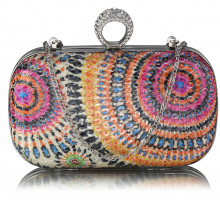 Psaníčko- Multi A Peacock Pattern Aluminum / Sequins Clutch Evening Bag