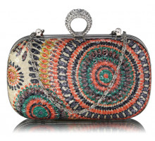 Psaníčko Multi C Peacock Pattern Aluminum / Sequins Clutch Evening Bag