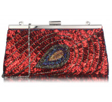 Psaníčko Red Sequin Peacock Feather Design Clutch Bag