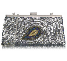 Psaníčko Silver Sequin Peacock Feather Design Clutch Bag