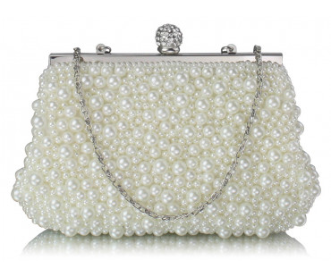 Kabelka Ivory Vintage Beads Pearls Crystals Evening Clutch Bag
