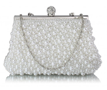 Kabelka White Vintage Beads Pearls Crystals Evening Clutch Bag