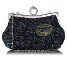 Kabelka Black Sequin Peacock Feather Design Clutch Evening Party Bag