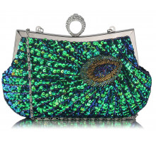 Psaníčko Green Sequin Peacock Feather Design Clutch Evening Party Bag