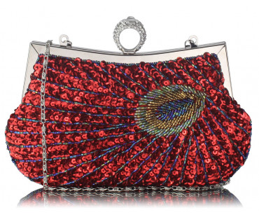 Kabelka Red Sequin Peacock Feather Design Clutch Bag