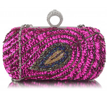 Kabelka Fuchsia Sequin Peacock Feather Design Clutch Evening Party Bag