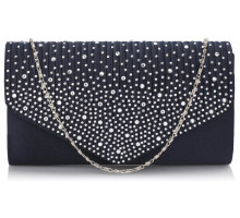 Psaníčko Navy Diamante Flap Clutch purse