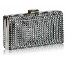 Psaníčko Grey Sparkly Diamante Evening Clutch - šedé
