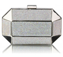 Psaníčko AB White Rhinestone Studded Hard Box Bridal clutch bag